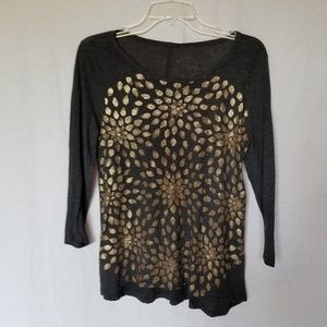 Lucky Brand 3/4 sleeve floral print top size M